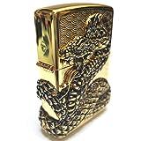 Zippo Snake Coil Gold Lighter / Genuine Authentic / Original Packing (6 Flints set Free Gift) (Color: Gold)