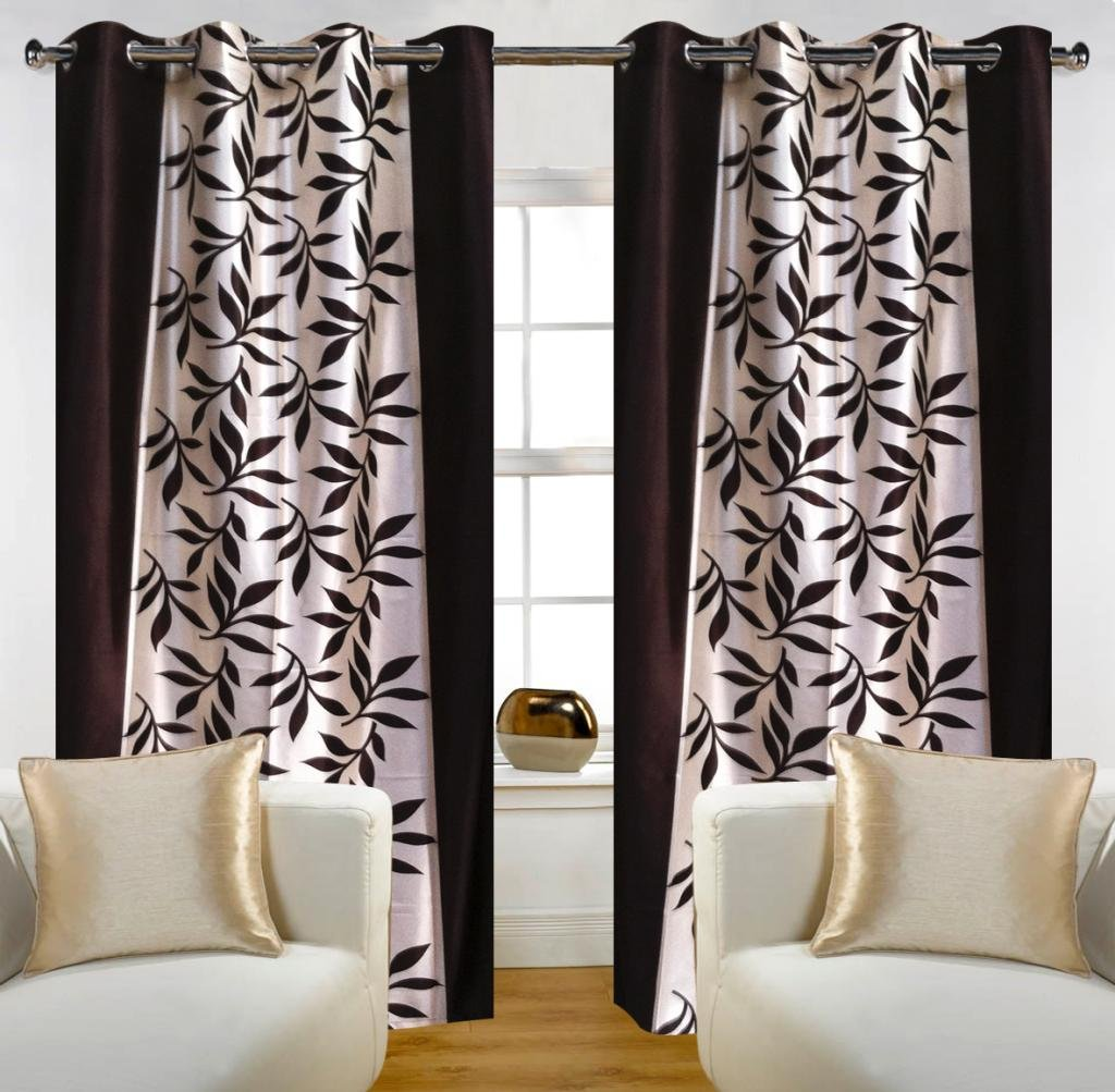 """Home Candy Leave 2 Piece Polyester Window Curtain Set - 60""""x48"""", Brown"""
