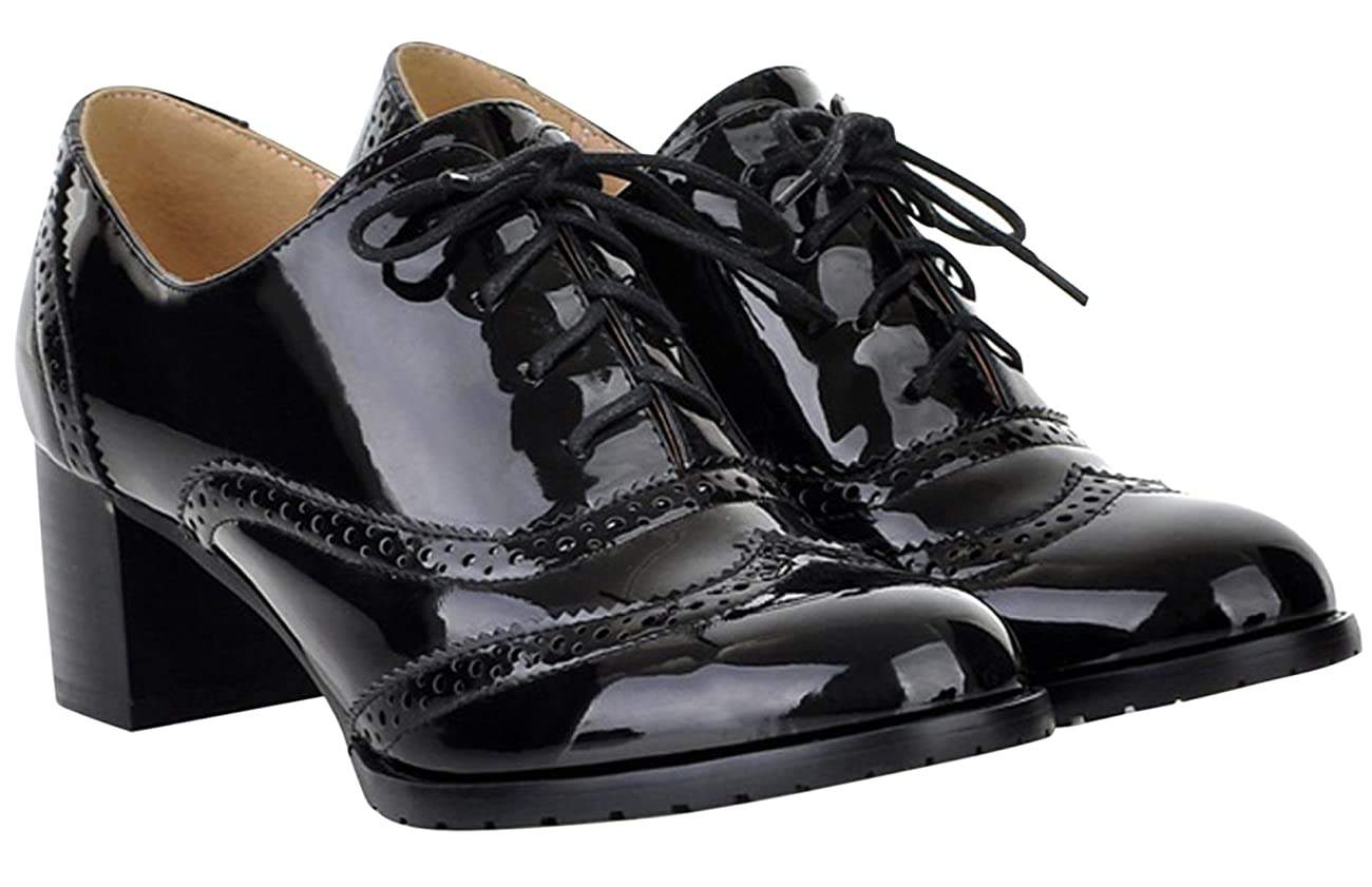 Women's Oxford Dress Pumps WGWJM-Patent Leather-Mid-heel-Hallowmas Shoes 5