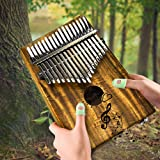 Kalimba 17 Keys EQ Thumb Piano Mbira Solid Acacia Pocket Size Finger Piano Built-in Pickup With 6.35mm Speaker Interface Musical Gift for Music Lovers (Color: Brown)