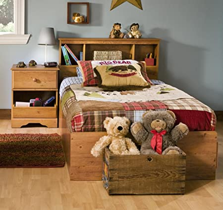 Kids Twin Wood Captain's Bed 3 Piece Bedroom Set in Country Pine