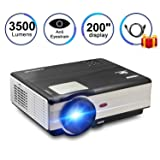 LCD LED Portable Projector Multimedia Home Theater Video Projector WXGA with HDMI Cable, Support Full HD 1080P HDMI USB SD Card VGA AV TV Laptop Game iPhone Android Smartphone Outoodr Movie Black (Color: 3500 Lumens Home theater projector)