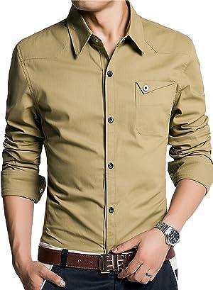 AZBRO メンズ Yシャツ ストレッチ ツイル スリムシャツ
