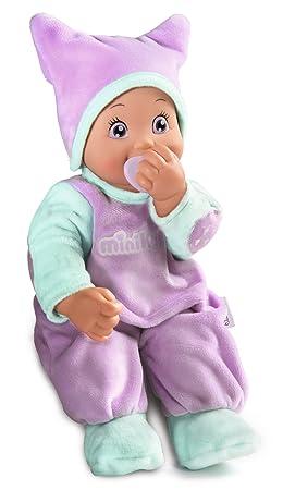Smoby Toys-210118 - Poupée enfant électronique, MiniKiss Poupon Tetine, Violet