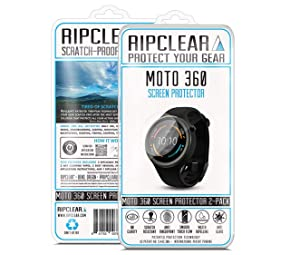 Ripclear for Moto 360 Sport Smartwatch Unbreakable Screen Protector Kit - Military Grade Scratch-Resistant, All-Weather Protection, Crystal Clear - 2-Pack