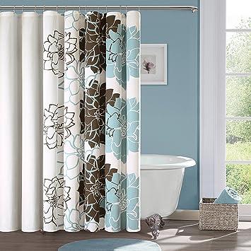 Amazon.com - Lola Cotton Shower Curtain Color: Blue / Brown -