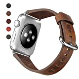 CURREN Replacement Bands Apple Watch 42MM 38MM, Genuine Leather Watch Bands Stainless Clasp iwatch Sport Edition Series 3 2 1 (Color: Brown, Tamaño: 42 mm)