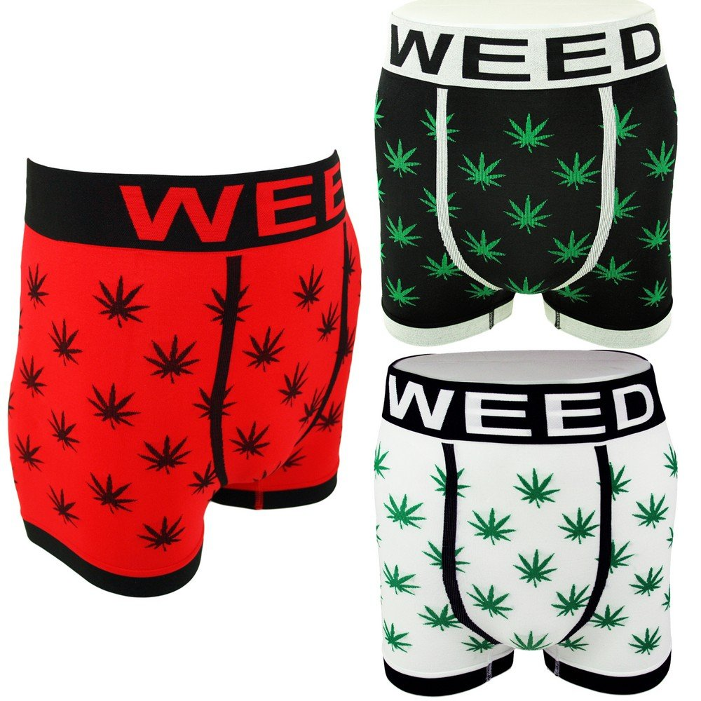 Men's Novelty Boxer Shorts Briefs Trunks Underwear WEED LEAF (3 pack or Single)