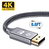 DisplayPort Cable,Capshi 4K DP Cable Nylon Braided -(4K@60Hz, 1440p@144Hz) Display Port Cable Ultra High Speed DisplayPort to DisplayPort Cable 6.6ft for Laptop PC TV etc- Gaming Monitor Cable (Grey) (Color: grey, Tamaño: 6ft displayport cable)