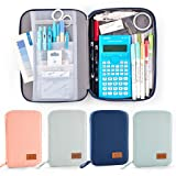 EASTHILL Big Capacity Pencil Pen Case Pouch Box Organizer Large Storage for Bullet Journal Blue (Color: Blue)