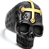 Flongo Men's Punk Rock Stainless Steel Ring Black Gold Skull Cross Bible Lords Prayer Gothic Band, Size 9, Mens Religious English Bible Lords Prayer Skull Statement Ring