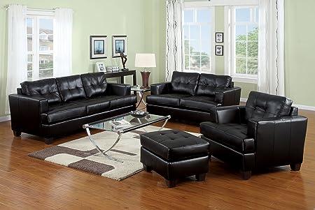 Acme 15091B Diamond Bonded Leather Loveseat with Wood Leg, Black