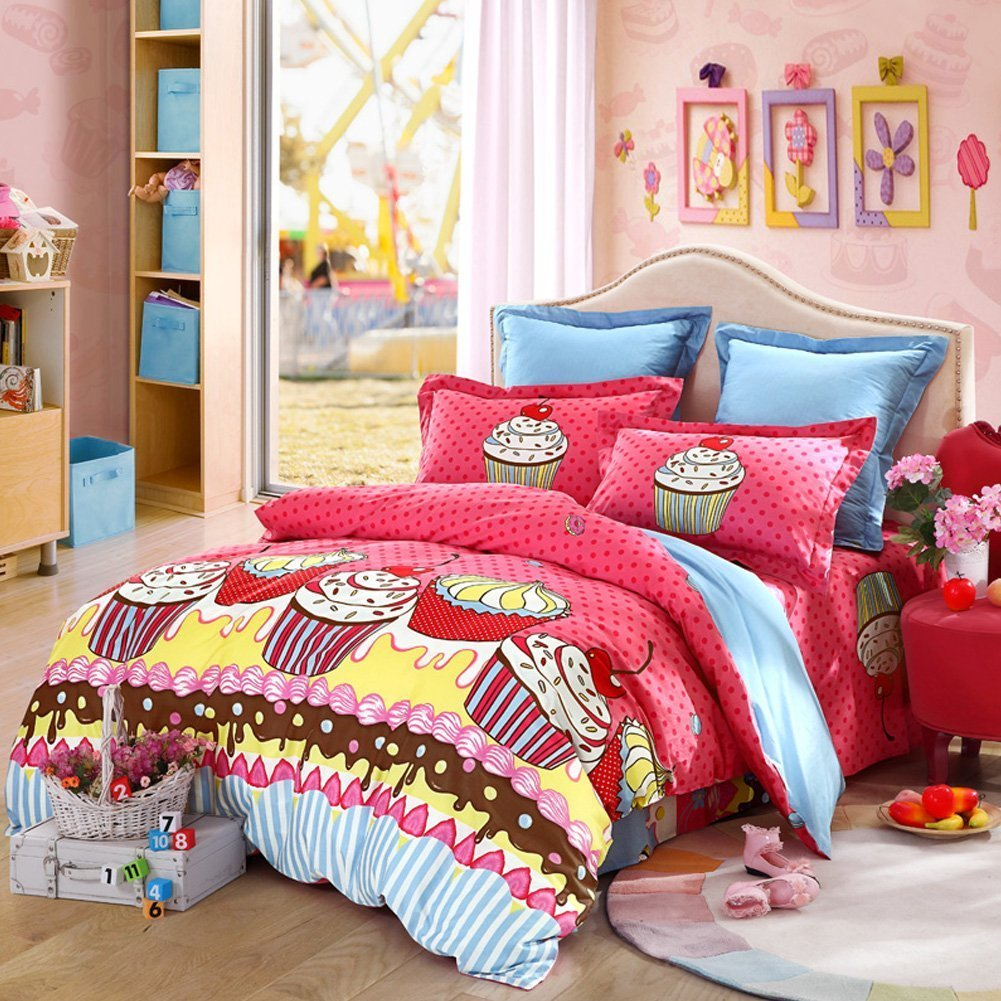 LOVO KID'S Series Meet His Dreaming Cakes 100% Cotton 4pcs Bedding Set 1x Duvet Cover, 1x Flat Sheet and 2x Pillowcases Multi-color Queen