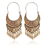 QIHOO Vintage Antique Engraving Boho Dangle Hook Earrings for Women and Girls (Gold) (Color: Gold)