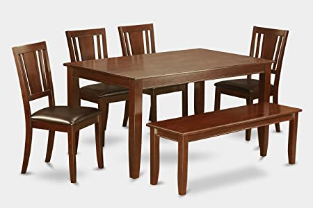 East West Furniture DUDL6-MAH-LC 6-Piece Dining Table Set