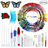 Magic Patterns Punch Needle Kit Craft Tool Embroidery Pen Set, Threads for Sewing Knitting DIY Threaders (Color: Embroidery..)
