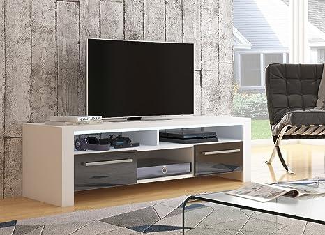 Mesa para TV Eva blanco mate/ frentes negros en brillo alto con iluminación LED