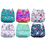 Mama Koala One Size Baby Washable Reusable Pocket Cloth Diapers, 6 Pack with 6 One Size Microfiber Inserts (Fairy Magic) (Color: Fairy Magic, Tamaño: One Size)