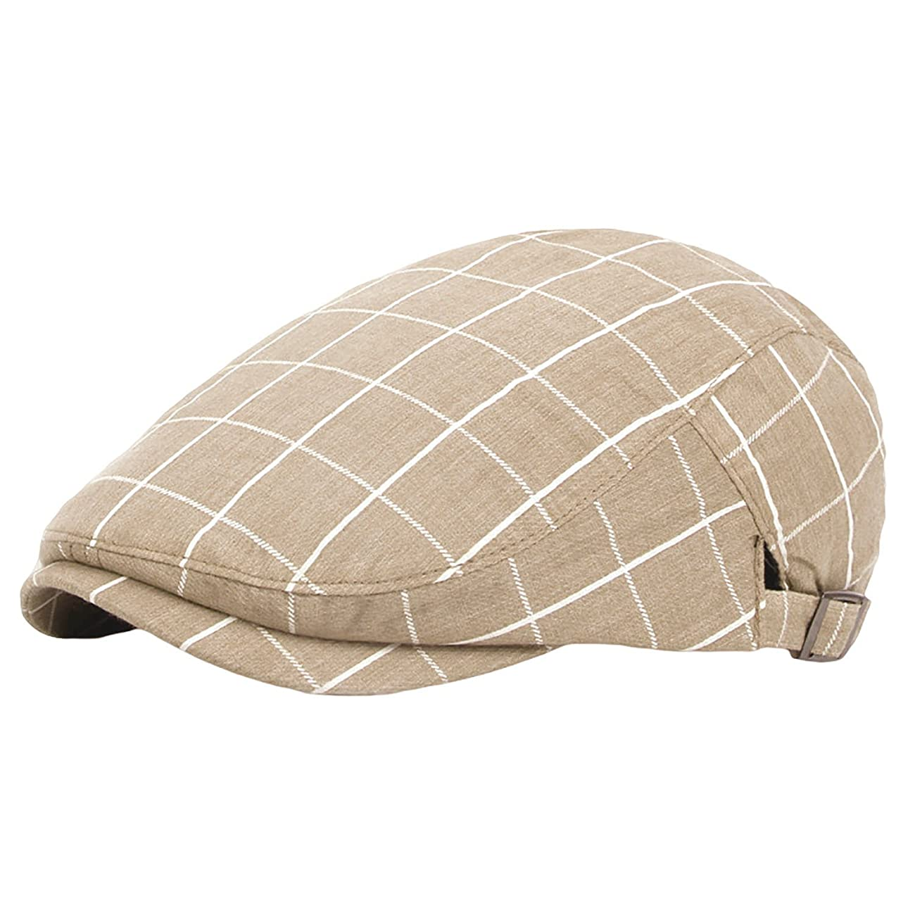 IL Caldo Unisex Summer Cotton Vintage Plaid Beret Cap Drivers Newsboy Cap 0