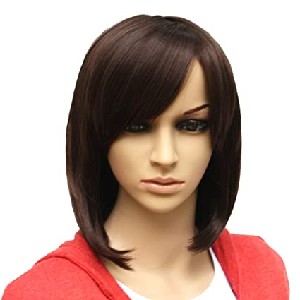 MelodySusie® Beautiful Short Dark Brown With Inclined Bangs Stunning Wig Full Wig + MelodySusie® Wig Cap + MelodySusie® Wig Comb