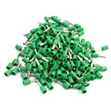 Uxcell E2508 Metal Tube Pre-Insulated Terminals with 190 Piece for 14AWG Wire, Green