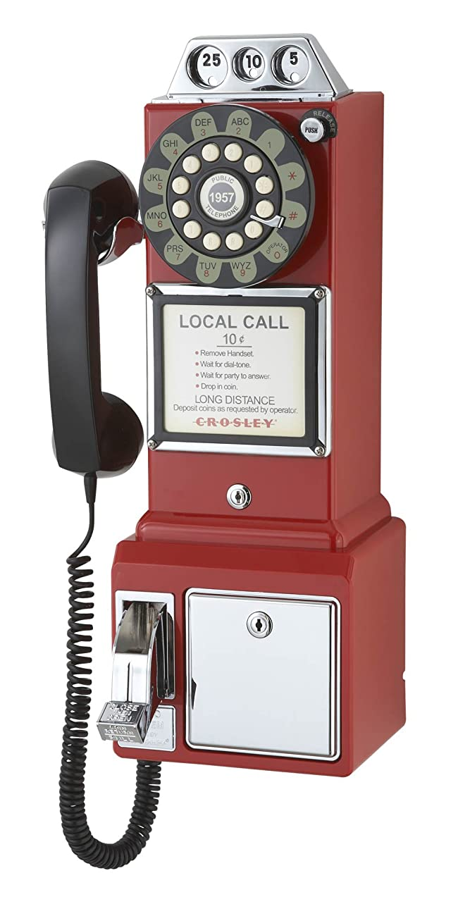 Crosley CR56-RE 1950's Payphone with Push Button Technology, Red 1