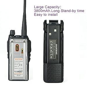 BaoFeng Battery Accessories BL-8 Backup Battery for BaoFeng UV-82 Series, 3800mAh 7.4V (Black) (Color: 1 pack)