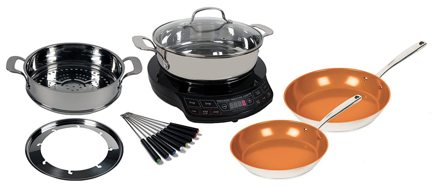 Induction Cooktop Cookware ~ Precision induction cooktop with complete cookware set by