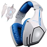 SADES A60 7.1 USB Surround Sound Stereo Over-the-Ear Gaming Headset with Mic Bass, Vibration, Noise-Canceling, Volume Control for PC (White) (Color: A60 WhiteBlue)