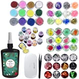 250ml Epoxy Resin UV Crystal Clear Transparent 60 Decorations Glitters Dried Flowers Glassine, Epoxy Kit for Resin Crafts Jewelry Making (Color: 250g resin + 60 decorations + lamp + tweezers)
