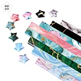 Paperkiddo 800 Sheets Origami Stars Paper 8 Different Designs of Marble Pattern for Paper Arts Crafts Kids Grown-ups School Teachers Folding Origami Star Paper Strips (Color: Marble Strips, Tamaño: 9.5x0.4