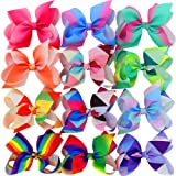Myamy 6 inches Hair Bows For Girls Large Big Grosgrain Ribbon Boutique Rainbows Hair Bow Clips For Kids Toddlers Teens Children Gifts Set Of 12 (Color: Multicoloured, Tamaño: 6in)