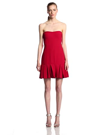 Jill Jill Stuart Women's Strapless Ruffle Hem Dress, Crimson, 0