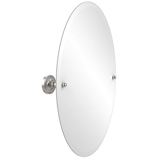 Allied Brass PR-91-SN  29-Inch X 21-Inch Oval Tilt Mirror, Satin Nickel