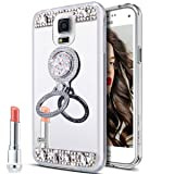 Galaxy S5 Case,Galaxy S5 Neo Case, Slim Luxury Rhinestone Diamond Glitter Bling Mirror Back Shock-Absorption TPU Bumper Protective Case with Ring Stand Holder for Galaxy S5 / S5 Neo,Silver