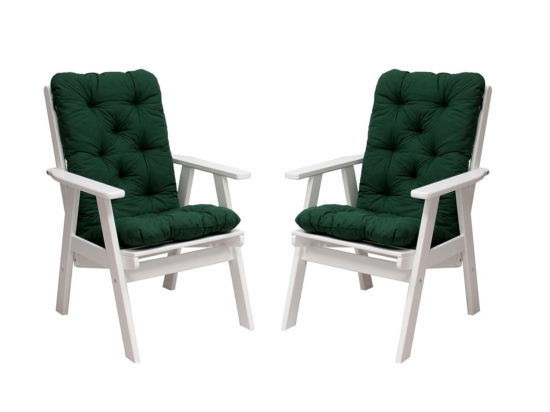Ambientehome 90486 2er Set Hochlehner Varberg weiß inkl. grüne Auflage Gartenstuhl Holzstuhl ANGEBOT jetzt bestellen