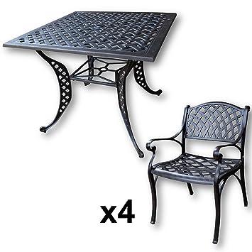 Lazy Susan - Table carrée 91 cm LUCY et 4 chaises de jardin - Salon de jardin en aluminium moulé, coloris Bronze ancien (chaises KATE)