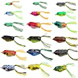 Croch Hollow Body Frog Lure Weedless Topwater Kit (18 PCS) (Color: multi)