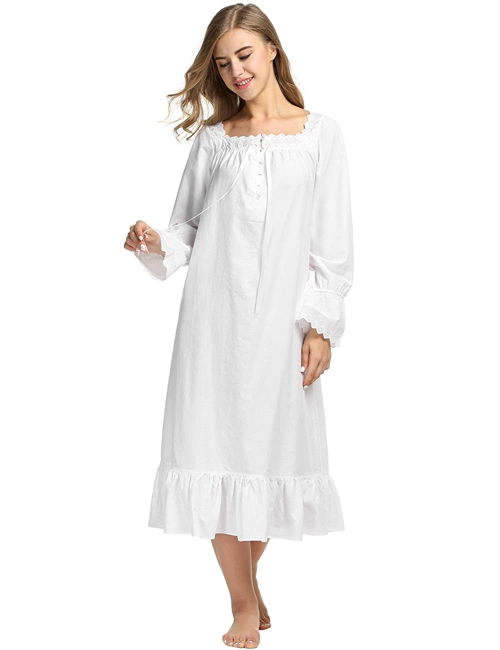 Avidlove Womens Cotton Victorian Nightgowns Romantic Long Bell Sleeve Nightshirt 1