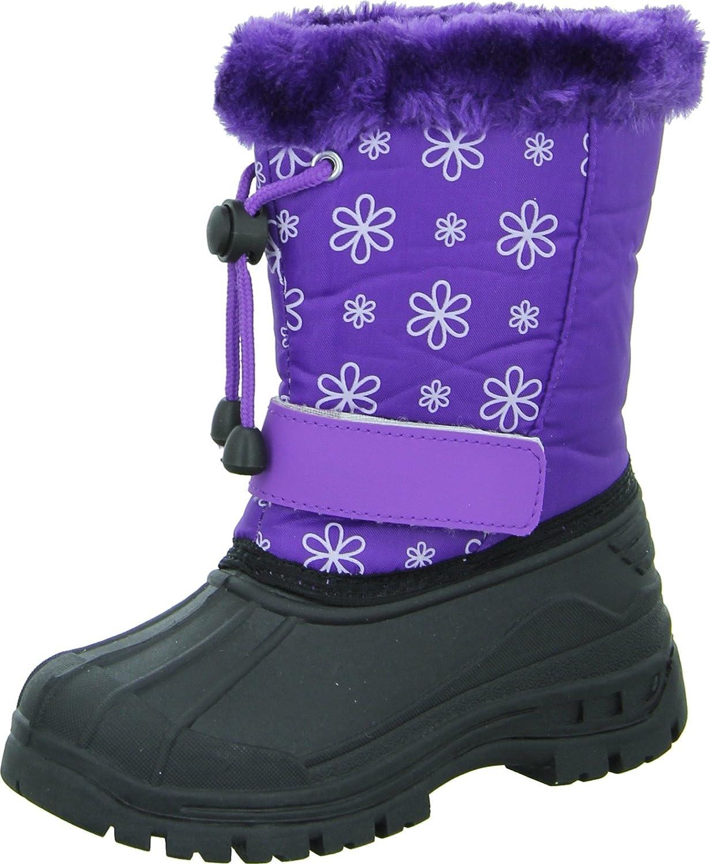 girlZ onlY FJA12 Kinder/-Mädchenschuh Stiefel Winterboots Blumenmuster Klettverschluss Profiliert Flauschig Violett günstig
