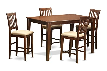 East West Furniture DUVN5H-MAH-C 5-Piece Counter Height Table Set, Mahogany Finish