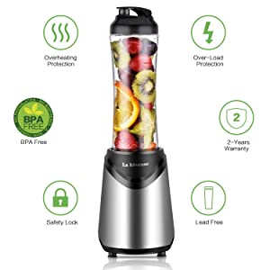 La Reveuse Smoothies Blender 300 Watt with 18 oz BPA Free Portable Travel Sports Bottle (Silver-1802) (Color: Silver, Tamaño: 1802 (300W))