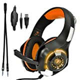 Gaming Headset, Beexcellent GM-1 3.5mm Surround Sound Gaming Headset with Microphone for PS4, Xbox, PC, Laptop, Tablet, Cell Phone, LED Lights (Orange) (Color: Orange)
