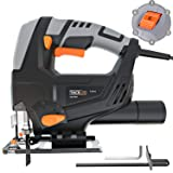 TACKLIFE Classic 5Amp 3000SPM Jigsaw, 118-inch Cord Length, Pure Copper Motor, Adjustable Speed (1-6 dial) & Bevel Angle (0°-45°), Dust Extraction, Parallel Guard - PJS03A (Color: Black & Gray, Tamaño: Small)