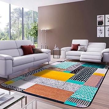 FLH Alfombra Sala de estar nórdica Moderna Europea Dormitorio Moderno Full House Mesa de centro Sofá Habitación Escritorio de la cama Rectángulo Felpudos ( Color : A , Tamaño : 160cmX230cm )