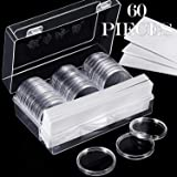 46 mm Coin Capsules Holder and Protect Gasket Coin Holder Case with Plastic Storage Organizer Box for Coin Collection Supplies (8 Sizes, 60 Pieces) (Color: 60 Pieces, Tamaño: 8 Sizes)