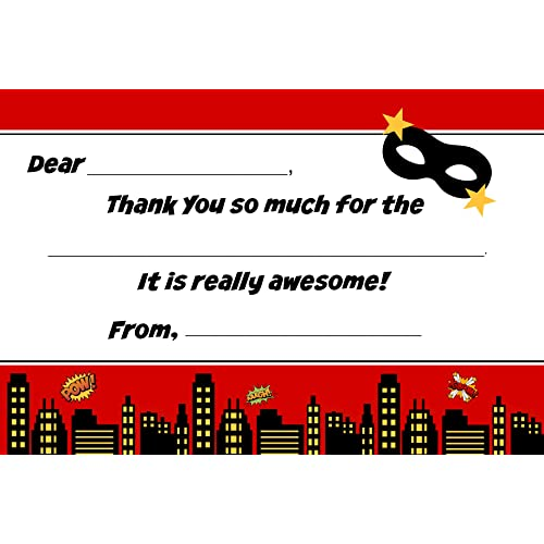Superhero Kids Birthday Fill In Thank You Cards (10 Count with Envelopes)