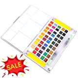 Sunshilor Watercolor Paint Set - 48 Assorted Watercolors Travel Watercolor Kit Includes 2 Water Brushes, 2 Sponges and 1 Mixing Palette, Field Sketch Set (Color: 48 Colors)
