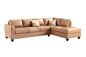 Glory Furniture G301B-SC Sectional Sofa, Tan, 2 boxes