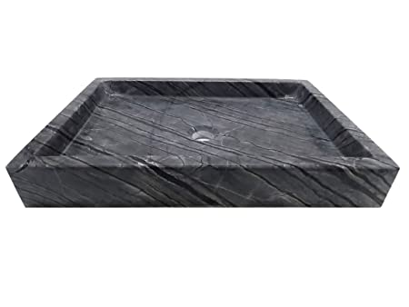 Rectangular Vessel Sink - Wooden Black Marble